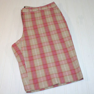 Ladies Izod Stretch 12 Pink Plaid Golf Shorts